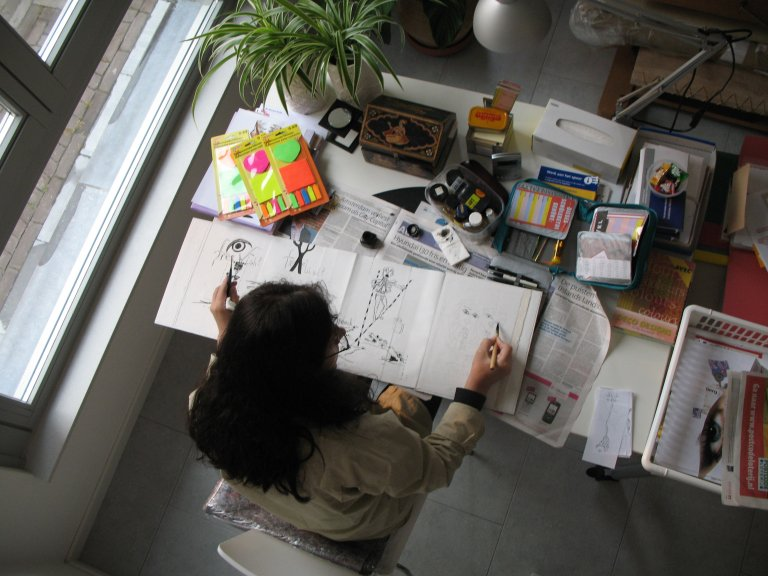 Litsa Spathi working in her Atelier in Breda, Netherlands.