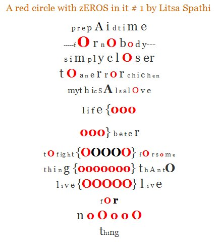 Visual and Fluxus Poem by Litsa Spathi. Title: Red circle with zEROS in it